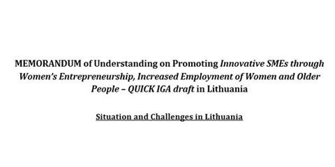 Memorandum of Understanding on Promoting Innovative SMEs through Women's Entrepreneurshi